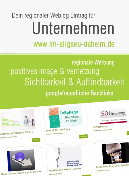 Weblog Allgäu - Eintrag für Unternehmer
