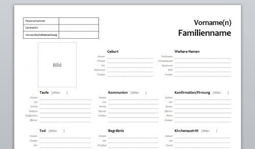 Vorlage 02 - Personenstammblatt Ahnenforschung Genealogie