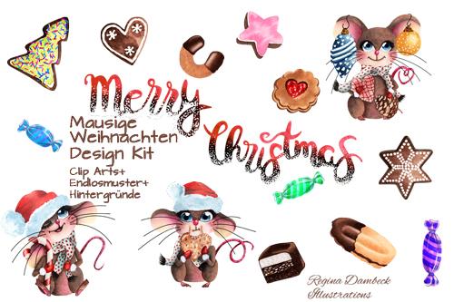 Mausige Weihnachten Clip Art Set