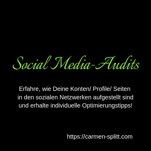Social Media Audits durch Carmen Splitt, Social Media-Coach, Bl