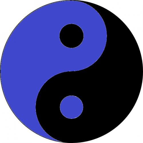 Yin-Yang in blau